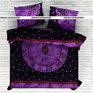 Zodiac Sun Sign Cotton Indian Bedding Queen Size Duvet Cover With Pillowcase Art