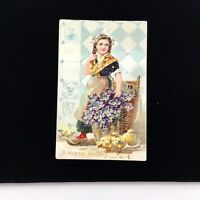Antique Tuck Post Card Easter Dutch Girl Chicks Embossed Unposted Undivided Vtg