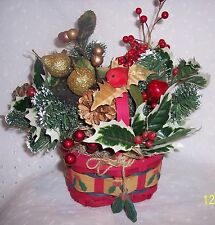 CHRISTMAS HOLIDAY RED BASKET TABLE DECORATION -HOME OFFICE