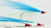 (20pk) Saltwater fishing jig BLUE/White Cod bucktail teaser hooks Fluke Flounder