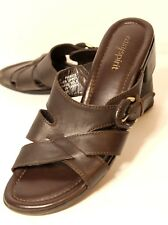 Easy Spirit Picnic Womens Size 8.5 W Brown Leather Sandals Slides