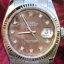 Rolex 36mm Datejust Steel 116234 18k Bezel Tahitian Mother of Pearl Diamond Dial
