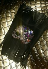 Upcycled Rubber Crystal Aurora Borealis Statement Cuff Rocknroll Gothic Leather