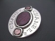 Auth Chanel Vintage Silver & Purple Gripoix CHANEL Oval Pendant/Pin Brooch(99A)