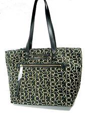Calvin Klein CK Black Beige Signature Print Tote Bag Handbag  New NWT