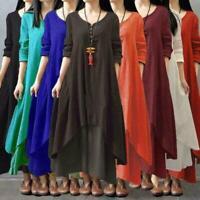 Vintage Kaftan Womens Boho Long Sleeve Cotton Linen Maxi Irregular Dress Plus