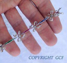 Art Nouveau Platinum Diamonds Ribbon Rubies Emeralds Sapphires Bracelet Faberge?