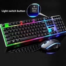 LED USB für PC Gaming Tastatur Keyboard Maus Set Regenbogen Gamer Laptop PS4 nc