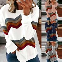 Womens Striped Tie Dye T-Shirt Long Sleeve Tops Jumper Sweatshirt Blouse Chic