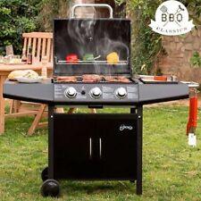 Barbecue a Gas Pietra Lavica BBQ 3 Fuochi Acciaio con ruote Termometro Integrato