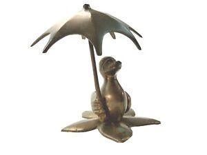 "Cute Anthropomorphic Brass Duck Holding An Umbrella 5"" Tall"