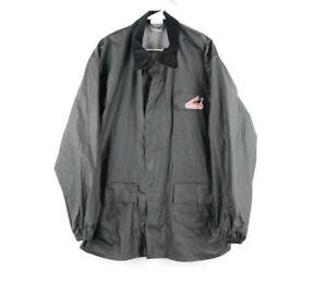 Vtg Hein Gericke Mens Large PVC Nylon Waterproof Motorcycle Parka Jacket Black