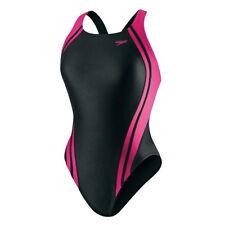 Quantum Speedo Spliced Racing Lycra Swim Suit Wear Adult Women Black Pink SZ-28