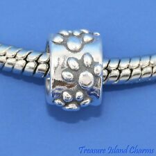 Dog Paws .925 Solid Sterling Silver European Euro Spacer Bead Charm Paw Print