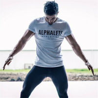 ALPHALETE Men's Gym Muscular Fitness Bodybuilding Crew Neck T-Shirt Sweatshirts