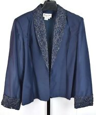 NWT Jovani Evening Navy Blue Beaded Lace Silk Jacket and Skirt Set Plus Size 18W