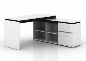 Office Study Desk Storage Shelves Milano Gloss White Computer Table Bookcase