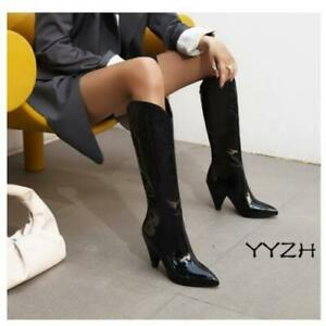 Fall Women Winter Pointed Shoes Synthetic Patent leather High Heel Mid Calf Boot