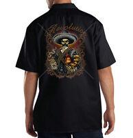 Dickies Mechanic Work Shirt Revolution Day Of Dead Skull Rooster