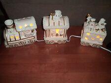 Santa & Snowman Ceramic Christmas Holiday Lighted Train ~ Used