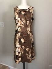 Talbots Brown Floral Dress Womens Size 8 Professional Career Coctail Formal Wear