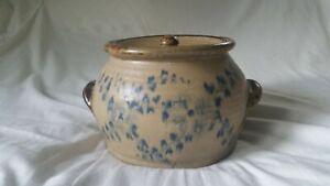 Lrg Ecru 10c Clay Bean Pot w lid blue crisscross flowers Humble Mill Seagrove NC