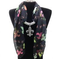 Western Cowgirl Scarf Rhinestone Fleur De Lis Saints Jewelry Black Multicolor