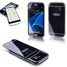 Alu Bumper 2 teilig Schwarz + 0,3 H9 Panzerglas Case für Samsung Galaxy S7 G930F