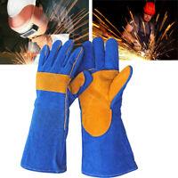 Cushion Cowhide TIG MIG Welding Welder Gloves Forearm Protection Safe Work 40cm
