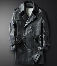 Men Leather Winter Trench Coat Double Breasted  Slim Fit Military Jackets Casual