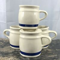 Set Of 4 Hartstone Pottery Blue Band Stripe Heavy Diner Style Coffee Mugs Cups