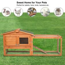 "61"" Wooden Rabbit Hutch Chicken Coop Hen House Animal Pet Cage Backyard with Run"