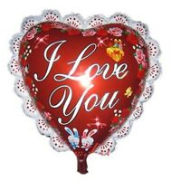 """I Love You Foil Balloons Valentine's day Shiny Red Heart Shaped 14"""" With Stick"""