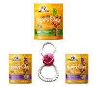 Wellness Natural Puppy Bites Training Treats Soft & Grain Free 3 Bags & Chew Toy