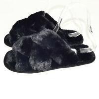 Damen Pantoffeln Hausschuhe Kunstpelz Schwarz  Pantoletten Schuhe Hausschuhe