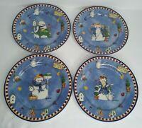 Winters Garden Cambridge Potteries Set of 4 Salad Dessert Plates Snowman Winter