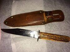 invicta em dickenson bowie knife with leather sheath sheffield england