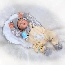 """23"""" Boy Full Body Silicone Reborn Baby Sleeping Doll Soft Vinyl Lifelike Newborn"""