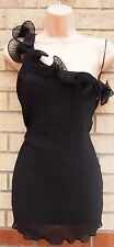 G21 BLACK WIGGLE RUFFLE FLARE FRILLY PARTY CAMI  BLOUSE T SHIRT TOP TUNIC 12 M