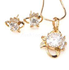 18k gelbes Gold überzogener künstlicher Diamant Fisch Ohrstecker Halskette Set