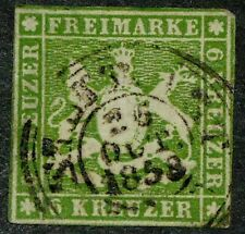 Wurttemberg Germany 1857 Sc #10 - 6kr Coat of Arms Used