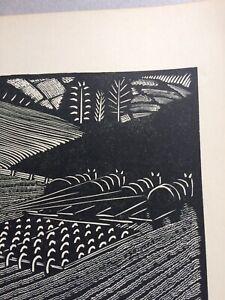 1950s Woodcut print Ploughing by Wharton Esherick: farming