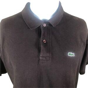 Lacoste Men's Classic Polo Croc Shirt Brown Short Sleeve Size 8 Large