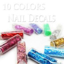 10 x Glitter Bling Nail Art decals strip FREE NAIL GLUE
