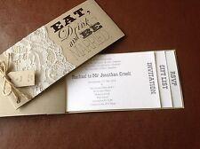 Shabby Chic CHEQUE Book Wedding Invitation