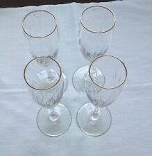 Set of 4 Crystal Clear Champagne Flutes * Gold Trim * Swirl Pattern in Glass
