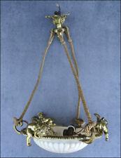 ANCIEN LUSTRE LAMPE PLAFONNIER SUSPENSION EN BRONZE AUX 3 ANGES PUTTI ALBATRE