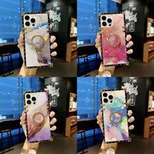 For Samsung S21 S20 S10 9 Note20 10 Glitter Bling Laser Marble Ring Square Case