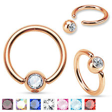 2 PCS 16G 14G Rose Gold IP Captive Bead Ring Gem Ball Nipple Earring Nose Septum