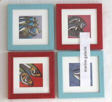 Art décoration poissons de mer 4 cadres atlantique déco cuisine marine pastels